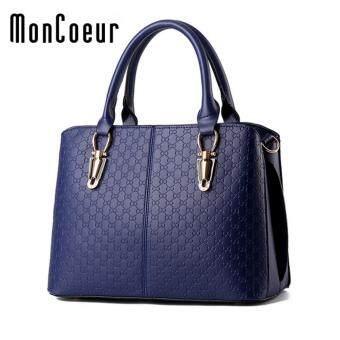 MonCoeur 004 Woman Elegant Premium PU leather Handbag (Blue)