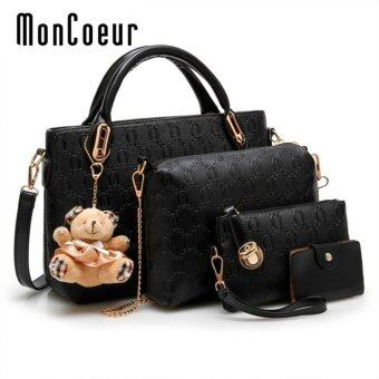 MonCoeur B04 Set of 5 in 1 Luxury Faux Crocodile Leather HandBags (Black)