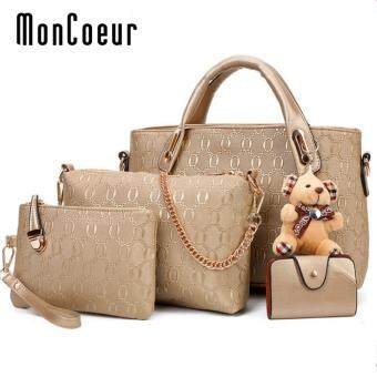 MonCoeur B04 Set of 5 in 1 Luxury Faux Crocodile Leather HandBags (Gold)