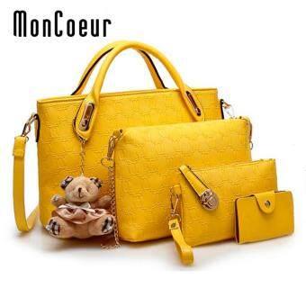 MonCoeur B04 Set of 5 in 1 Luxury Faux Crocodile Leather HandBags (Yellow)
