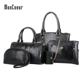 MonCoeur C01 Set of 5 in 1 Luxury Faux Crocodile Leather HandBags(Classic Black)