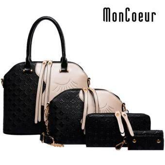 MonCoeur D002 4 in 1 European Designer Leather Handbags 4 piece Set (Black)