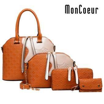 MonCoeur D002 4 in 1 European Designer Leather Handbags 4 piece Set (Brown)