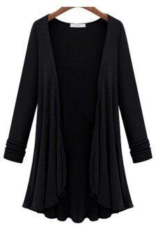 Moonar Cardigan Knit Sweater Coat Long Plus Size Black   Lazada ...