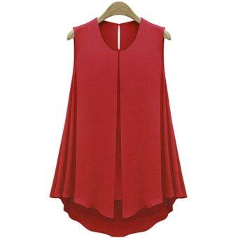 Harga Moonar Women's Fashion Summer Chiffon Tank Top Vest O-neck T-ShirtSleeveless Blouse S-XXL (Red)