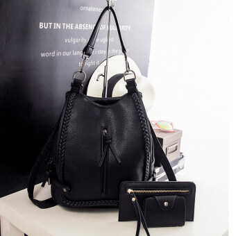 Ms. handbag New style tide pigtail Korean-style rivet shoulder bag (Black braids and three sets of) (Black braids and three sets of)