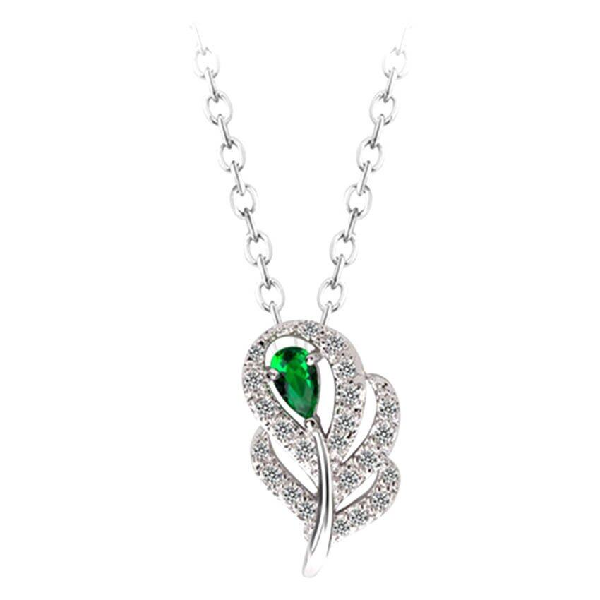 Mulberry Leaf Pendant Necklace - Green