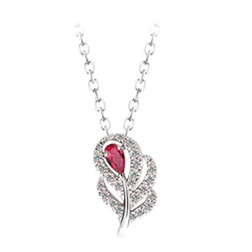 Mulberry Leaf Pendant Necklace - Red