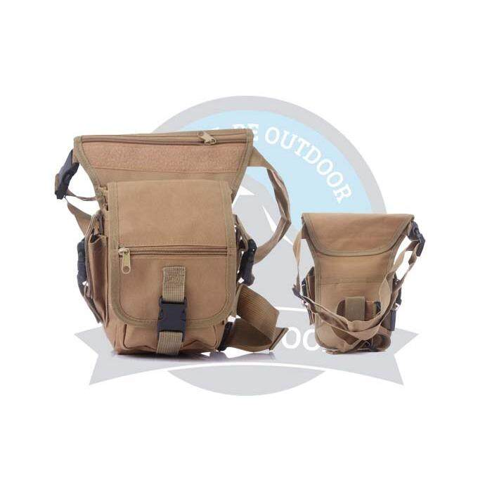 [LOCAL DELIVERY] Multifunction Men Tactical Military Outdoor Pouch Sport Leg Thigh Bag Canvas Fanny Pack Purse for Travel Hiking Riding -Brown