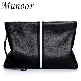 Harga Munoor 100% Genuine Cow Leather Mens Clutch Bags Business Travel Holder Boss Wallet