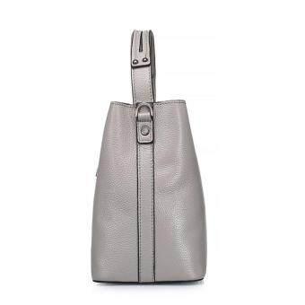 Munoor ITALIAN Women Tote Bags 100% Genuine Cow Leather Fashionable Shoulder Bags Crossbody Travel Holder (Light Grey) - 2