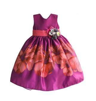 Mylilangelz KC2313 Zoe Flower Hibiscus Print Purple Dress