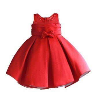 Mylilangelz KC2371 Zoe Flower Daisy Neckline Dress (Red)