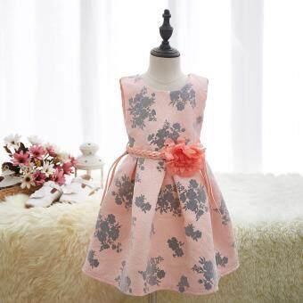 Mylilangelz KC2384 Tong Tong Mi Greyish Floral Prints Jacquard Dress (7-12Y)