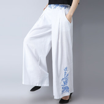 Harga National Wind Asian New style embroidery flower elastic Linen longculottes (White)