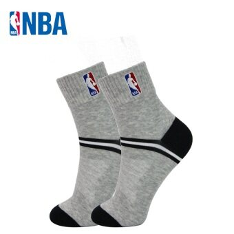 NBA Men's Breathable Mesh Combed Cotton Socks (Shallow flower gray/Black)