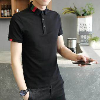 Harga New 2017 Men's Brand Polo Shirt For Men Designer Polos Men CottonShort Sleeve shirt leisure jerseys solid polo shirts (Black)