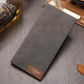 New Canvas-Style Men's Long Thin Wallet Japan And South Korea Fashion Soft Splicing Surface