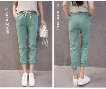New Casual Cotton and Linen Nine Trousers Harem Pants (Green) - 3