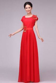 New large female adult performance dress chorus clothing (Red) (Red)