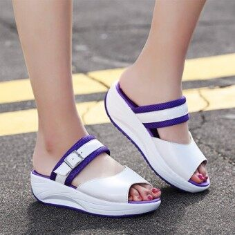 Harga New style fish head thick crust thick with the with student shookhis sandals (Purple)