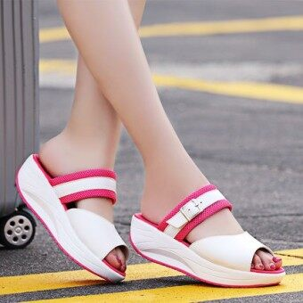 Harga New style fish head thick crust thick with the with student shookhis sandals (Rose red)