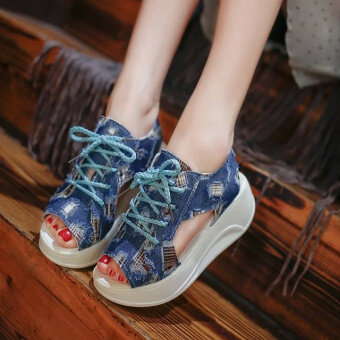 Harga New style heavy-bottomed lace Korean-style denim cloth canvasshoes, fish head (Dark blue)