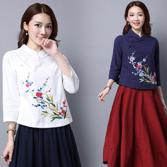 Harga New style nine points sleeve Asian embroidery flower Linen Top (Dark blue)