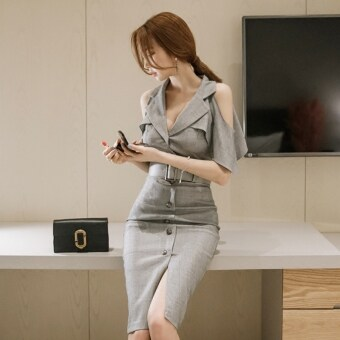 Harga New style off-the-shoulder Slim fit lotus leaf edge sleeves longsection dress