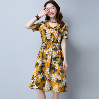 Harga New style Plus-sized Asian floral retro Linen short-sleeved dress (Yellow)