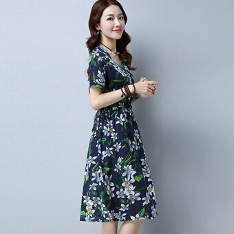 Harga New style Plus-sized Asian floral retro Linen short-sleeved dress(Navy blue)