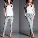 ราคา ราคาถูกที่สุด New Vintage Women Applique Blouse Floral Button Down Organza Splicing Long Sleeves Shirt Black White Intl