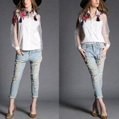New Vintage Women Applique Blouse Floral Button Down Organza Splicing Long Sleeves Shirt Black White Intl ใน จีน