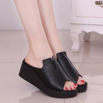 Harga New Women Casual Wedge Sandals Peep Toe Summer Slipper KoreanFemale Slides Black XZ260