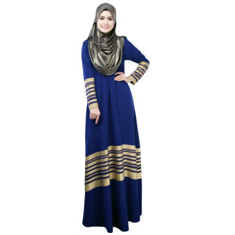 Harga New Women Muslim Maxi Dress Stripes Zipper Long Sleeves AbayaKaftan Islamic Robe Long Dress Dark Blue