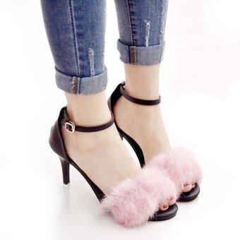 Harga New Women Pom Pom Faux Fur Ankle Strap Stiletto High Heel PartyDress Sandals PINK