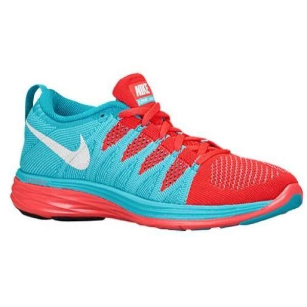Nike Nike FLYKNIT LUNAR 2 Wanita Lari Sepatu, Lebar Reguler, Warna Biru/Merah/Putih-Internasional