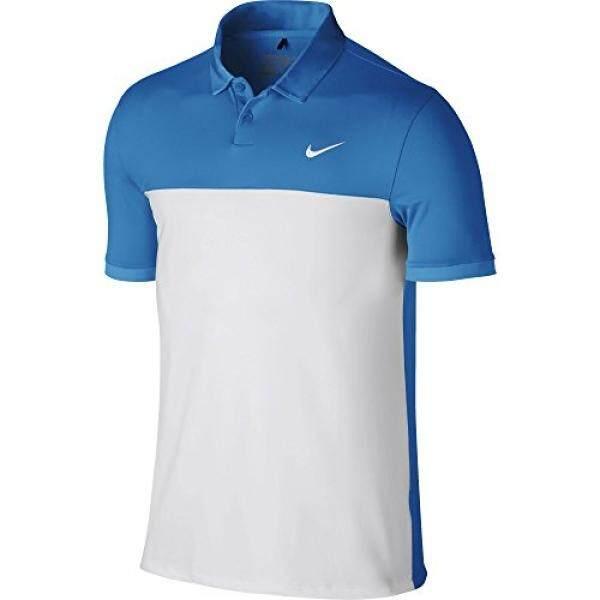 NIKE NIKE Golf Pria ICON Warna Block POLO 725527, LT Foto Biru/Putih, Medium-Internasional