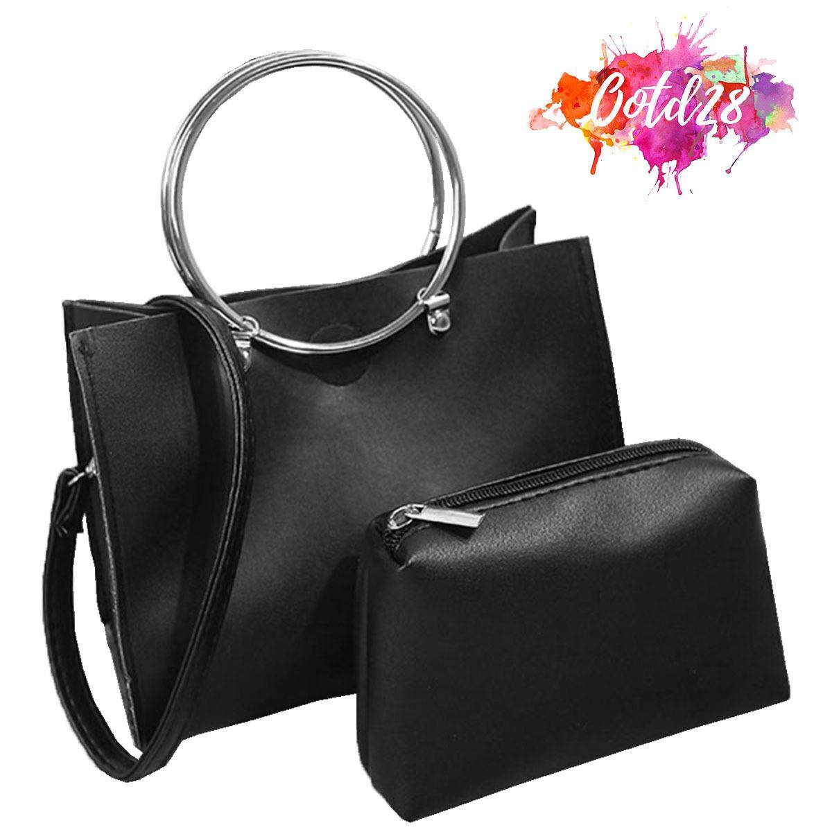 7568da28a2 OOTD28 617B Women Desginer Luxury Keychain Leather Hand Bag Black