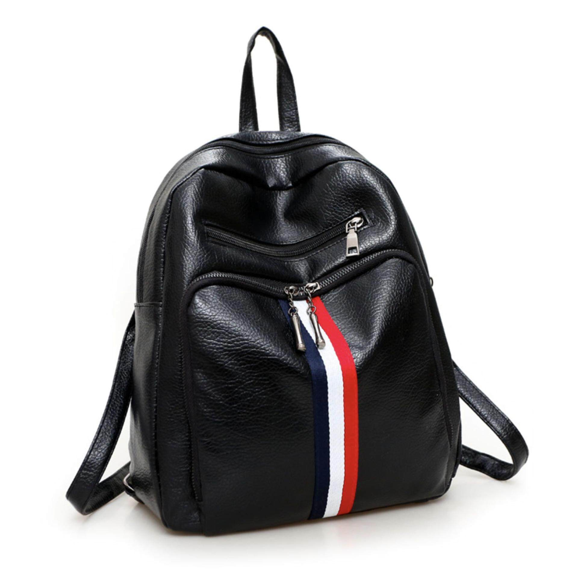 OOTD28 BP002 Korean Backpack Colour Striped Leather Travel Bag Sporty Shoulder Bag