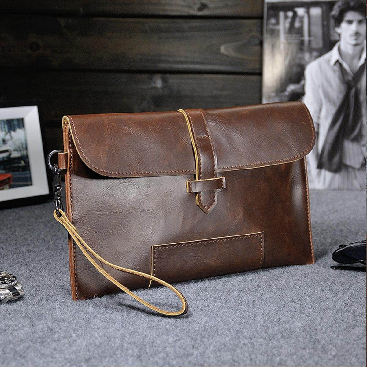 OOTD28 Men's Crazy Rich PU Leather Clutch Bag Messenger Carry Bag, Dark Brown