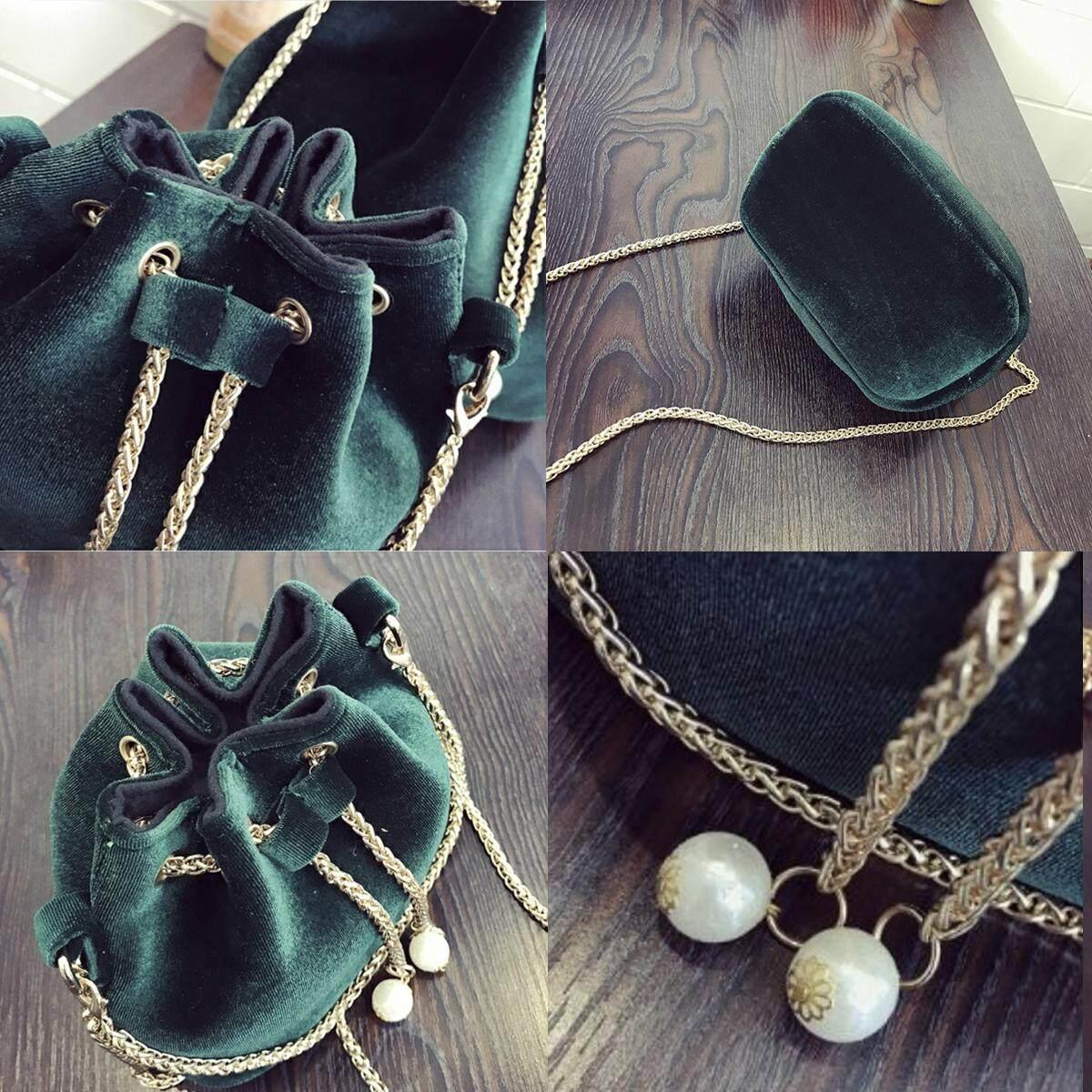 OOTD28 Velvet Bucket CNY Fortune Chain Elegant Korean Sling Bag, Black