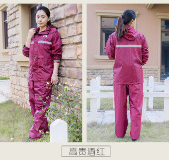 Outdoor double layer breathable motorcycle raincoat rain pants ([Double simple] purple female models) ([Double simple] purple female models)