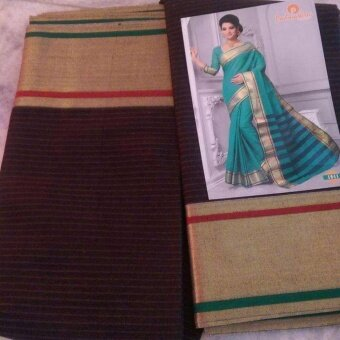 Padmashree Cotton Saree Black with golden red green stripe border