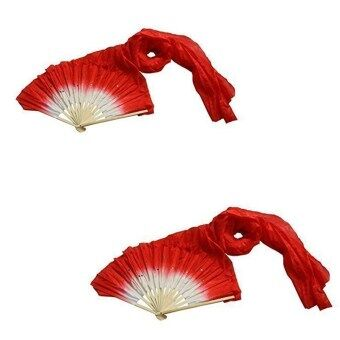 Harga PAlight 2PCS 1.8m Colorful Dancing Long Silk Bamboo Dance Fan (Red)