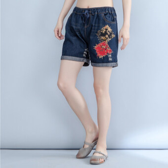 Harga Patch national wind patch elastic waist embroidery flower wild denim shorts