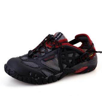 Harga PATHFIDNER Men's Trail Sandals Waterproof Hiking Shoes LightMountain Climbing Shoes Wading Shoes-Black