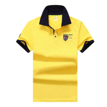 Harga Paul Fold-down collar youth Plus-sized British short sleeved t-shirt polo shirt (Yellow 633)