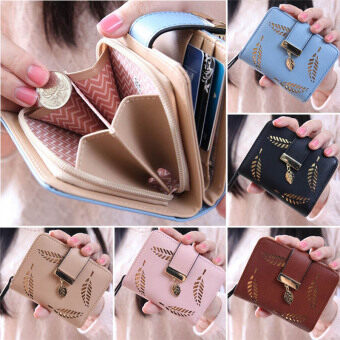 Harga PHOEBE New Fashion Female Short Paragraph Hollow Gold Leaf SmallPurse Large Capacity Wallets-apricot