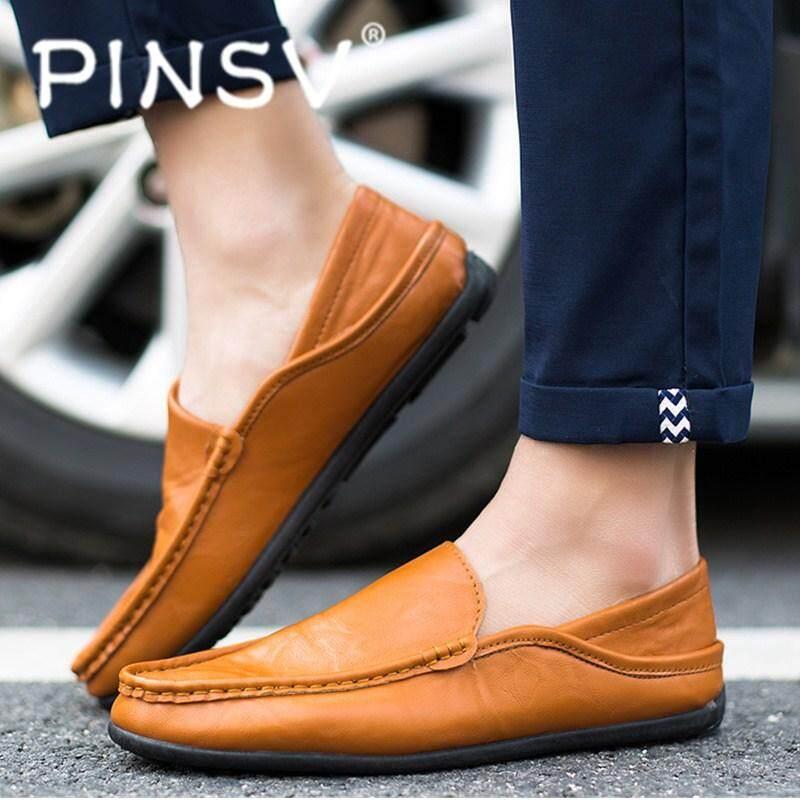 Bandingkan Toko Pinsv Modis Kulit Pria Mengendarai Mobil Sepatu Loafer  Sepatu Kasual Baju Inggris harga baru 386f6f549a